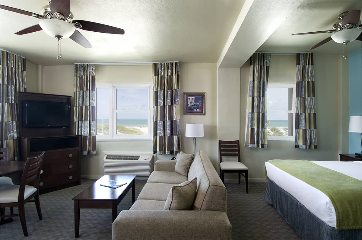 The Inn's Premium One-Room Efficiency Offers Breathtaking Views of the Beach and Gulf